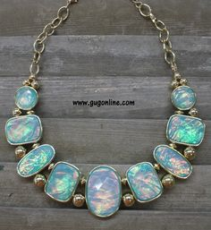Iridescent Aqua and Gold Statement Necklace www.gugonline.com $14.95