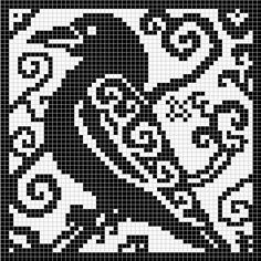 Spirit Raven Chart by Melanie Nordberg -This pattern is available for free.    60 x 60 stitches chart suitable for crochet, cross stitch and filet crochet
