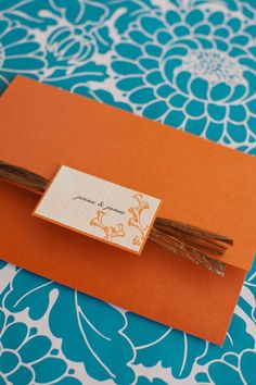 orange teal wedding invitations
