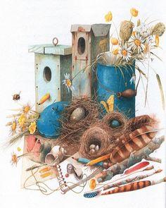 artists, houses, eggs, bastin art, nest, artist marjolein, marjolein bastin, birds, bird hous
