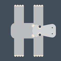 letter h animals   Letter H // Animal Alphabet // Hippo Art Print by Jen Montgomery ...