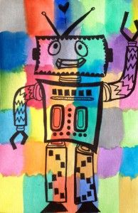 Robot  water color pattern robots