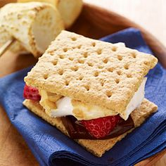 Strawberry Smores - Take the classic campfire dessert up a notch by adding strawberry slices to Graham crackers, dark chocolate, and roasted marshmallow.