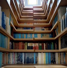 A staircase that doubles as a bookshelf