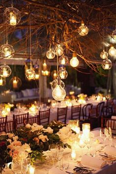 hanging mason jar candles and lights for gala