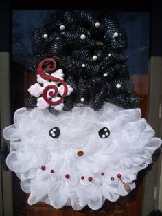 Snowman Wreath made with Deco Mesh Black and White. LARGE and in CHARGE