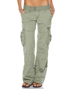 Wonderful Fashion Women Military Army Green Cargo Pocket Pants Leisure Trousers
