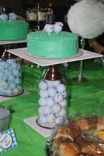 golf cakes, parties, golf party, cake stands, golf parti, cake cake, parti idea, grooms, bridal showers