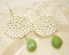 New Chrysanthemum Earrings, Mother's Day SALE, Amazonite Earrings, Silver Earrings, Green Blue Drop Earrings. $25.00, via Etsy.