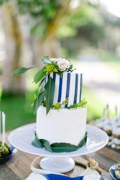 striped wedding cake, photo by Brooke Photography and Design http://ruffledblog.com/nautical-inspired-anniversary-shoot #weddingcake #cakes #nautical