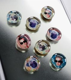 Dollar Store Craft - DIY glass magnets from dollar store stones - kids can use any picture they like to customize!