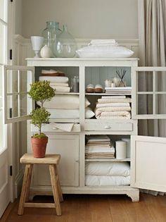 restored armoire for linen storage