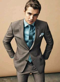 Turquoise Shirt & Tie With Sexy Gray Suit!!!  Very Handsome Man~~
