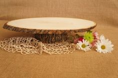 LARGE Tree Slice Cake Stand  Wood Slice Cake by FestiveHomeDesigns, $55.00