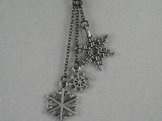 LET it SNOW - Snowflake Necklace - Celebrate the Seasons - Winter Jewelry on 18 inch gunmetal chain - Snowflake Jewelry