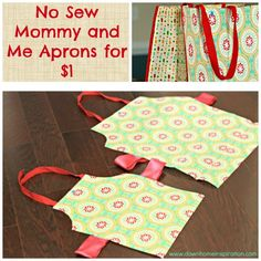 No Sew Mommy and Me Aprons for $1