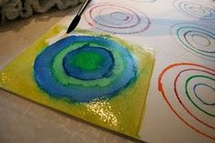 Kandinsky circles - with a crayon boarder #artiststudy #kandinsky #circles #shapes #art #preschool #preschoolart #prek