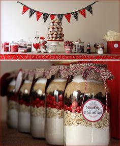Baking mix jar favors - cute party favor idea!