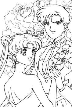 sailor moon and tuxedo mask kiss coloring pages  Usagi and Mamoru Colori...