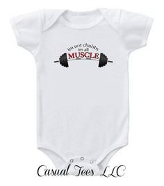 I'm Not Chubby I'm All Muscle Funny Baby Bodysuit  or Toddler Tshirt on Etsy, $15.00