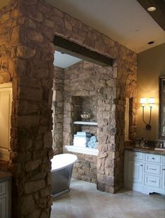 Coronado Stone French Country Villa® - Verona - Beautiful Stone Veneer bathroom.