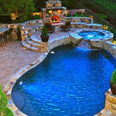 Fire pit   Hot tub   Pool = Dream Home by @interiordesign_lovers was liked by the outdoor wicker furniture experts!