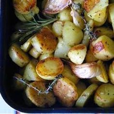 """""""This roasted potato side dish, made with less olive oil and more fresh herbs than the original recipe, is a healthy hit with everyone."""""""