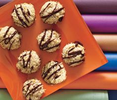 Holiday Dessert Recipes: Coconut Macaroons. We dressed up this chewy classic for the holidays with a festive, to-die-for drizzle of chocolate. Oats replace part of the coconut to make this a lowfat yet still satisfying goody. #SelfMagazine