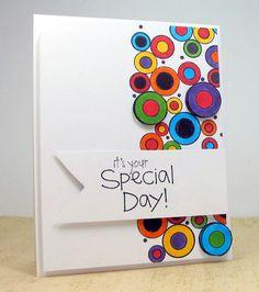 circles, graphic, paper craft, karen dunbrook, pennies, bright circl, snippet, cards, bright colors