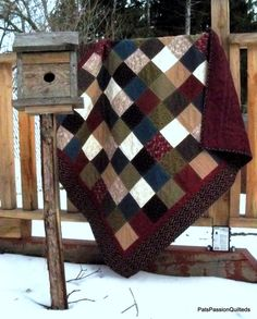 Traditional Scrappy Patchwork Lap Quilt by PatsPassionQuilteds