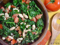 Marinated Kale, White Bean and Tomato Salad - Serves 6 salad recipes, tomato salad, bean salads