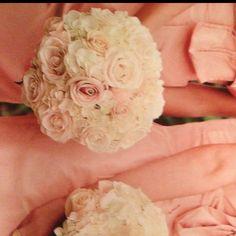 White hydrangea + blush pink roses bridesmaid bouquet