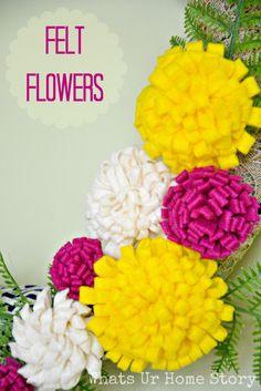 Felt flowers tutorial www.whatsurhomestory.com felt flower tutorial, flower diy, felt flowers