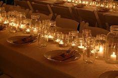 dinner, mason jar centerpieces, mason jar candles, candle centerpieces, mason jars, jar lights, glas, parti, tea lights