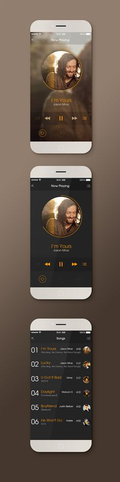 Mobile device music playing app concept - great design, a little dark, but you can never go wrong with a little Jason Mraz in your life #design #UI #iPhone