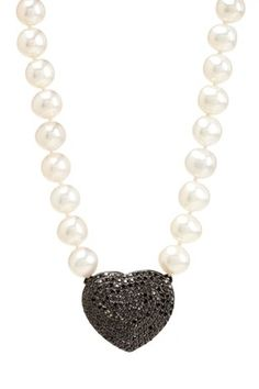 $185.00 Pave Black CZ Heart Pendant Pearl Necklace  visit http://www.hautelook.com/short/3ApLt for designer items at discount prices. Free to join!