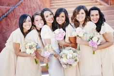 bridesmaids, bridesmaid dresses, peach, rustic weddings, blushes, blog, bridesmaid bouquets, cream, sleeves