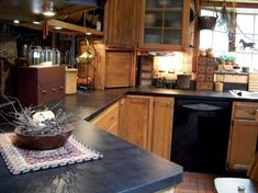 Prim kitchens and great site. Painted countertops.