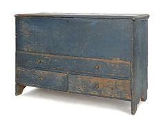 New England painted pine blanket chest, early 19th c - OMG!
