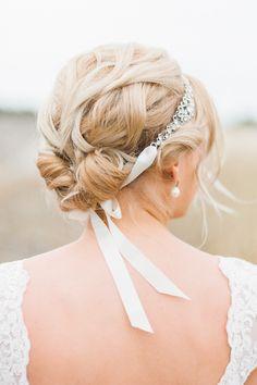 Blonde, updo with ribbon headband #wedding #bridal #hair #bride