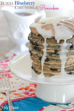 Iced Blueberry Crumble Pancakes. #pancakes #breakfast