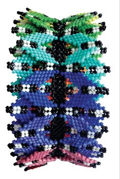 Rainbow Helix Cuff, Christina Vandervlist, Contemporary Geometric Beadwork 2012, photo Kate McKinnon
