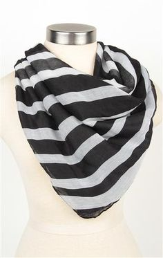 Deb Shops Black and White #Striped #Scarf $9.99