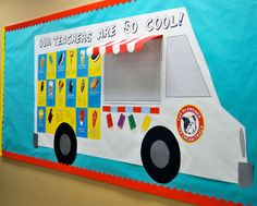 Bulletin board idea may be Reading is Cool and put book covers on the truck?