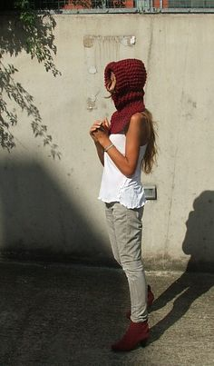 Velvet red chunky hoodie balaclava