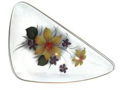 Vintage 1950s Glass Dish with Floral Transfer Painting by mish73, £4.00