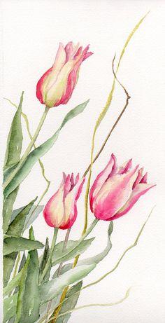 Floral Art Watercolor painting Original Tulips Flower Art Spring Celebrations Pink Tulips via Etsy