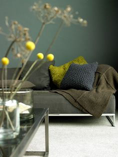 muted shades of green with pop of yellow