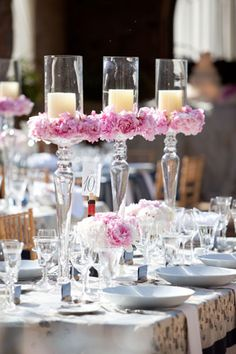 Candle and Floral Centerpiece Perfection! by Todd Events #Tablescape  #wedding #centerpiece #candle floral centerpieces, candl, wedding centerpieces, flower