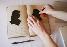 silhouettes in a journal - scrapbooking \ memory making idea for newly married couples